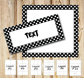 Labels with a white dotted black frame  | Free printable labels