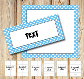 Labels with a white dotted light blue frame  | Free printable labels