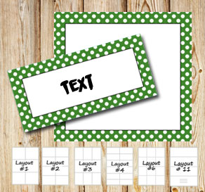 Labels with a white dotted green frame  | Free printable labels