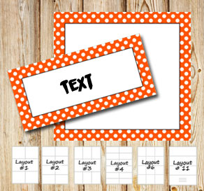 Labels with a white dotted orange frame  | Free printable labels