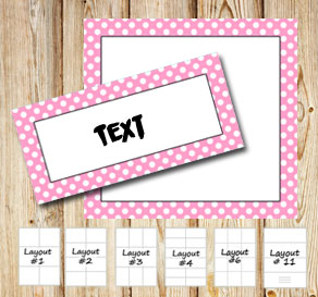Labels with a white dotted light pink frame  | Free printable labels