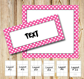 Labels with a white dotted pink frame  | Free printable labels