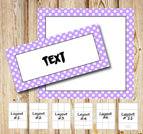 Labels with a white dotted light purple frame  | Free printable labels