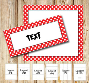 Labels with a white dotted red frame  | Free printable labels
