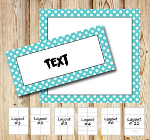 Labels with a white dotted turquoise frame  | Free printable labels