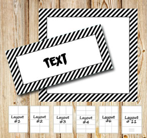 Labels with a white striped black frame  | Free printable labels