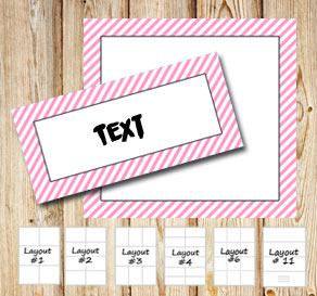 Labels with a white striped light pink frame  | Free printable labels