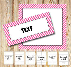 Labels with a white striped pink frame  | Free printable labels
