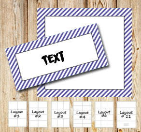 Labels with a white striped purple frame  | Free printable labels