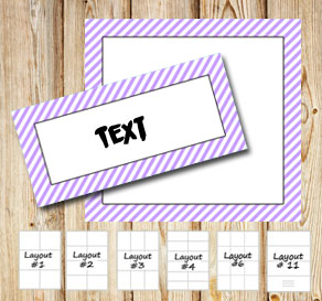 Labels with a white striped light purple frame  | Free printable labels