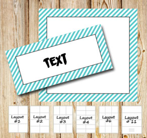 Labels with a white striped turquoise frame  | Free printable labels