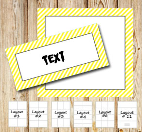 Labels with a white striped yellow frame  | Free printable labels