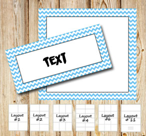 Labels with a zig zag striped light blue frame  | Free printable labels