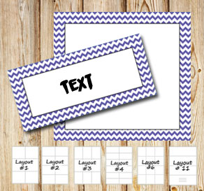 Labels with a white zig zag purple frame  | Free printable labels