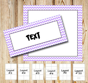 Labels with a white zig zag light purple frame  | Free printable labels