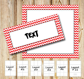 Labels with a white zig zag red frame  | Free printable labels