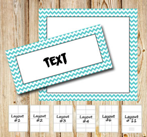 Labels with a white zig zag turquoise frame  | Free printable labels
