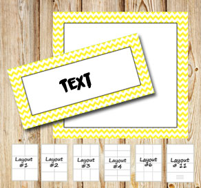 Labels with a white zig zag yellow frame  | Free printable labels