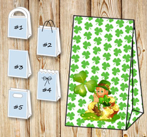 Gift bag with green shamrock and a St Patricks day ...  | Free printable for St Patricks day