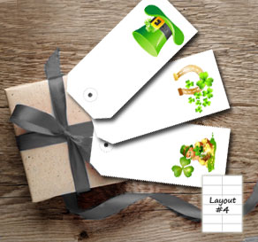 White gift tags with St Patricks day theme  | Free printable for St Patricks day