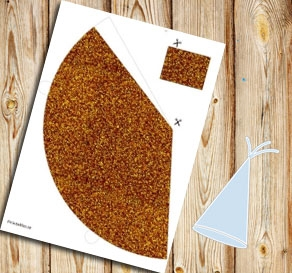 Orange glitter party hat  | Free printable for New Years Eve