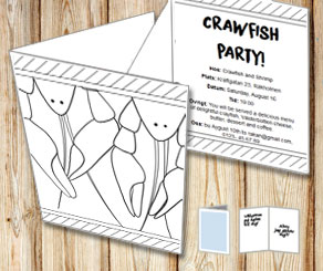 Invitation: Crawfish party to color yourself 2  | Free printable for the Crayfish party