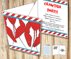 Invitation: Crawfish party 2  | Free printable for the Crayfish party