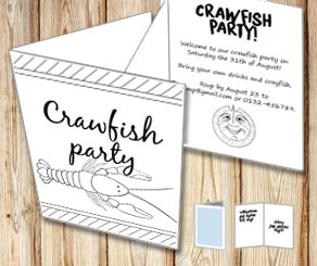 Invitation: Crawfish party to color yourself 3  | Free printable for the Crayfish party