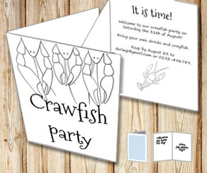 Invitation: Crawfish party to color yourself 5  | Free printable for the Crayfish party