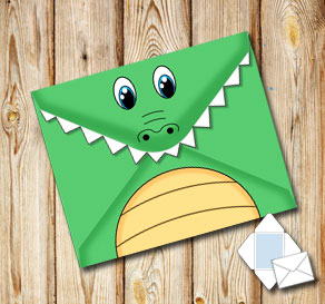 Animal envelope: Crocodile  | Free printable envelopes
