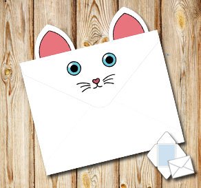 Animal envelope: White cat with blue eyes  | Free printable envelopes
