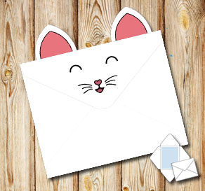 Animal envelope: White cat sleeping  | Free printable envelopes