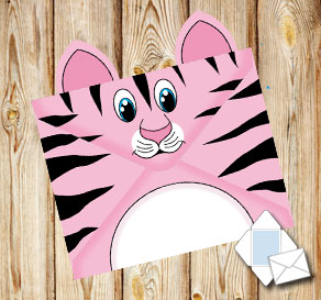 Animal envelope: Pink tiger  | Free printable envelopes