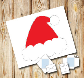 White envelope with santa hat  | Free printable for Christmas