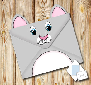 Animal envelope: Grey cat  | Free printable envelopes