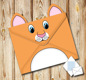 Animal envelope: Orange cat  | Free printable envelopes