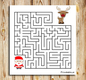 Small maze: Help santa find his reindeer  | Free printable for Christmas
