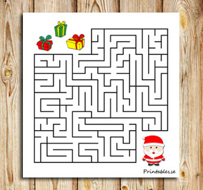 Small maze: Help santa find his gifts  | Free printable for Christmas