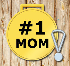 Gold medals: #1 Mom in black  | Free printable for Mothers day