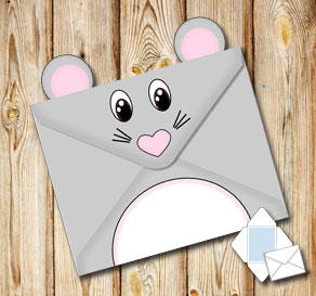 Animal envelope: Mouse  | Free printable envelopes