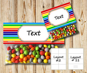 Striped bag toppers with rainbow colors  | Free printable bag topper
