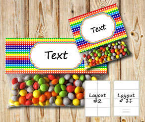 Dotted bag toppers with rainbow colors  | Free printable bag topper