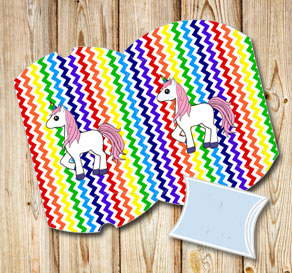 Chevron pattern  pillow boxes in rainbow colors wit...  | Free printable gift box