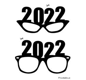 Photo booth props: New Years Eve glasses for 2022  | Free printable for New Years Eve