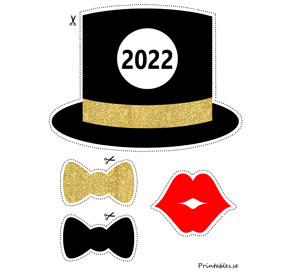 Photo booth props: New Years Eve 2022  | Free printable for New Years Eve