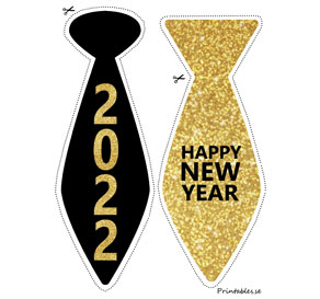 Photo booth props: New Years Eve ties för 2022  | Free printable for New Years Eve