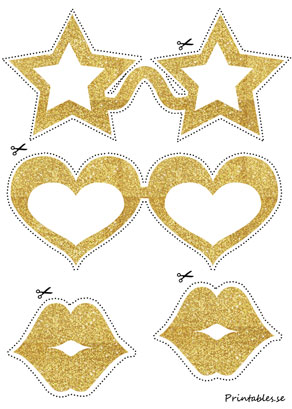 Photo booth props: Golden glasses with stars  | Free printable for New Years Eve