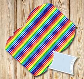 Dotted pillow boxes in rainbow colors  | Free printable gift box