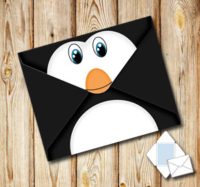Animal envelope: Penguin  | Free printable envelopes