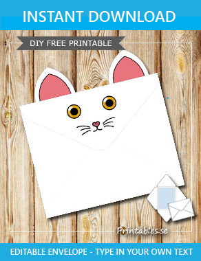 Animal envelope: White cat with yellow eyes  | Free printable envelopes